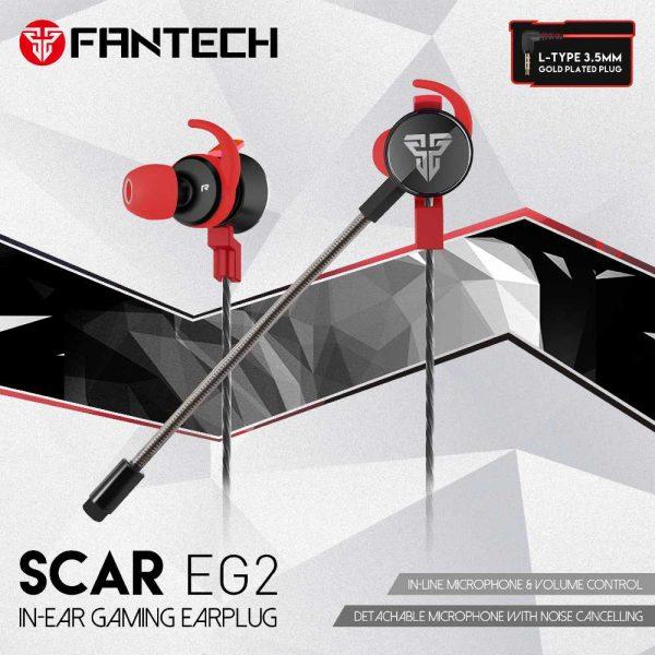 HANDS-FREE SLUŠALICE ŽIČNE GAMING IN-EAR FANTECH 3.5 mm + MIKROFON SCAR EG2