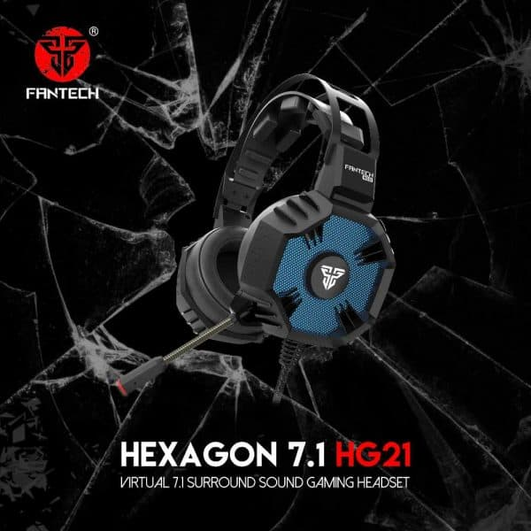 SLUŠALICE ŽIČNE GAMING FANTECH USB + MIKROFON HEXAGON 7.1 HG21