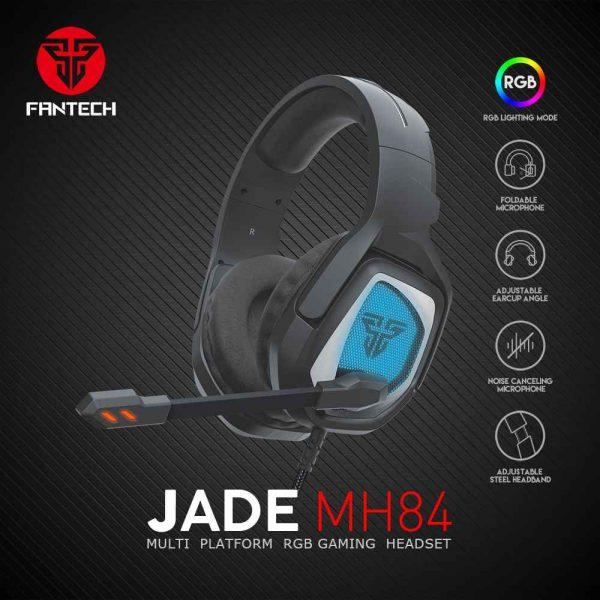 SLUŠALICE ŽIČNE GAMING FANTECH 3.5 mm + USB + MIKROFON JADE MH84